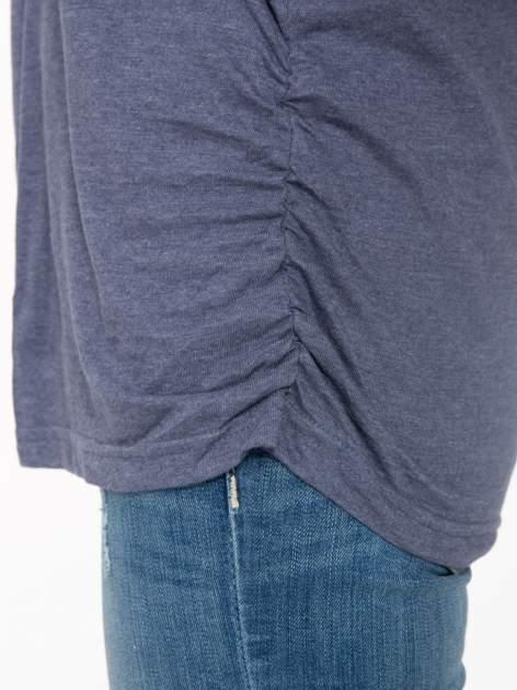 Granatowa luźna bluzka z rękawem 3/4                                  zdj.                                  7
