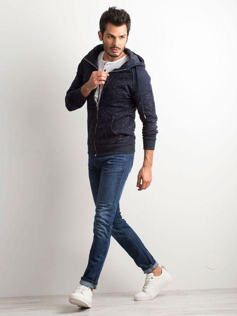 Granatowa melanżowa bawełniana bluza męska z kapturem                              zdj.                              4