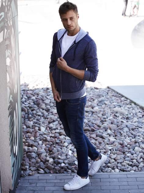 Granatowa melanżowa bluza męska z zasuwanymi kieszeniami                                  zdj.                                  8