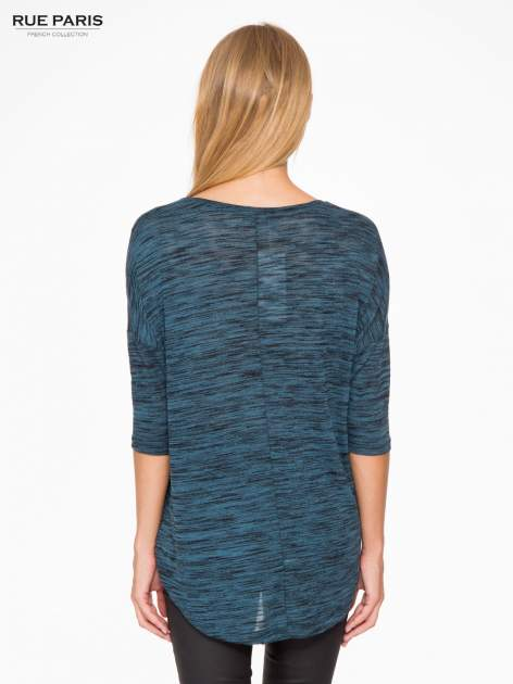 Granatowa melanżowa bluzka o obniżonej linii ramion                                  zdj.                                  4