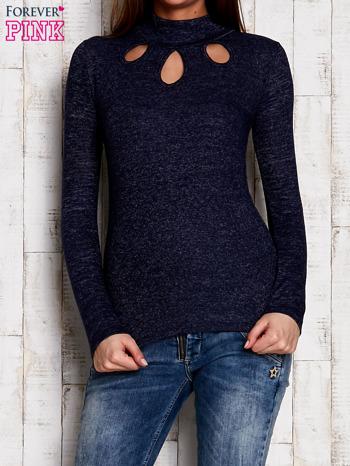 Granatowa melanżowa bluzka z wycięciami                                  zdj.                                  1