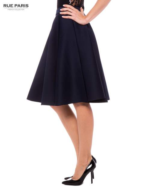 Granatowa neoprenowa spódnica midi szyta z koła                                  zdj.                                  3
