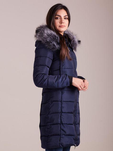 Granatowa pikowana damska kurtka zimowa                               zdj.                              3