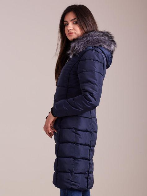 Granatowa pikowana damska kurtka zimowa                               zdj.                              5