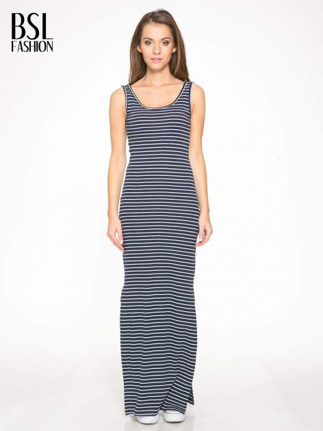 Granatowa prosta długa sukienka w paski z bawełny                                  zdj.                                  1