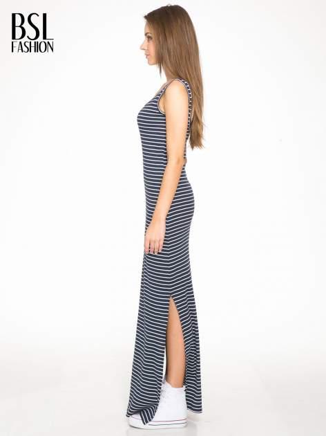 Granatowa prosta długa sukienka w paski z bawełny                                  zdj.                                  2
