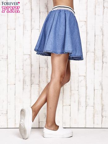Granatowa rozkloszowana spódnica z gumką w pasie                                  zdj.                                  4