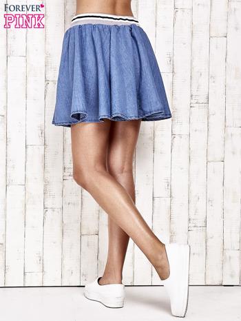 Granatowa rozkloszowana spódnica z gumką w pasie                                  zdj.                                  3