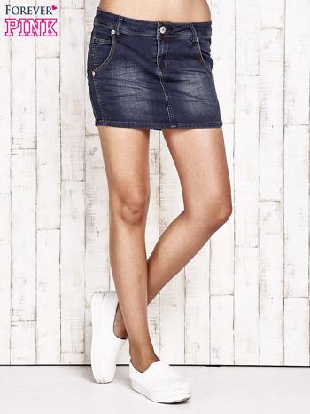 Granatowa spódnica jeansowa z przetarciami                               zdj.                              2