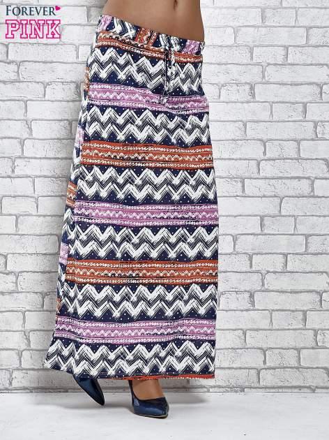 Granatowa spódnica maxi w azteckie wzory                                  zdj.                                  1