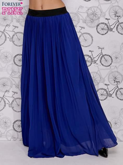Granatowa spódnica maxi z ornamentowym paskiem                                  zdj.                                  3