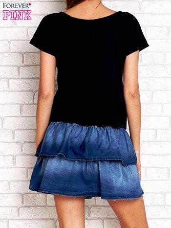 Granatowa sukienka dresowa z jeansowym dołem                                  zdj.                                  4