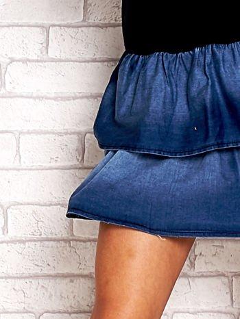 Granatowa sukienka dresowa z jeansowym dołem