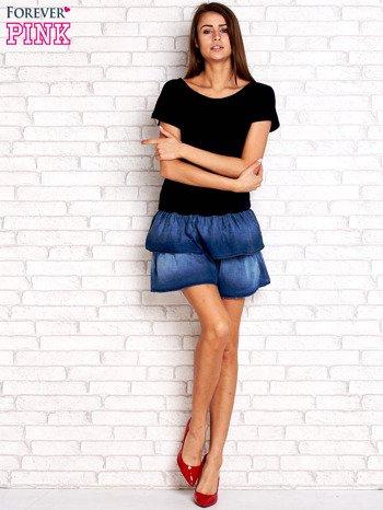 Granatowa sukienka dresowa z jeansowym dołem                                  zdj.                                  2