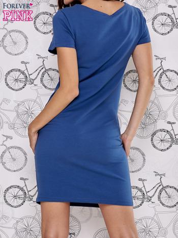 Granatowa sukienka dresowa z napisem YOU WILL NEVER FORGET ME                                  zdj.                                  4
