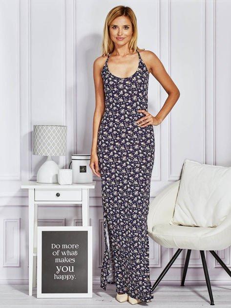Granatowa sukienka maxi na ramiączkach w łączkę                                  zdj.                                  4