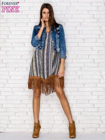 Granatowa sukienka w etniczne wzory z frędzlami                                  zdj.                                  5