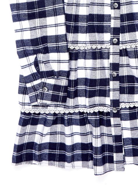 Granatowa sukienka w kratę dla dziewczynki z warstwowymi falbanami                              zdj.                              4