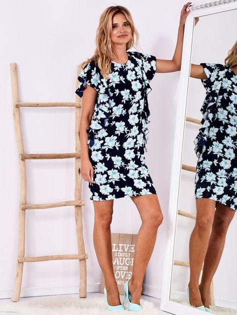 Granatowa sukienka w kwiaty z falbanami                              zdj.                              4