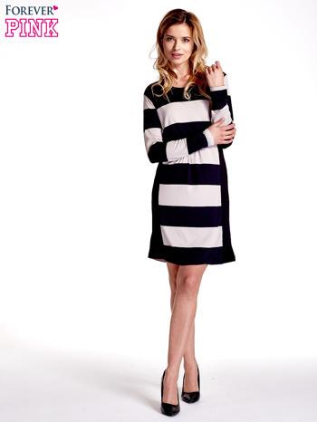 Granatowa sukienka w szerokie pasy                                  zdj.                                  7