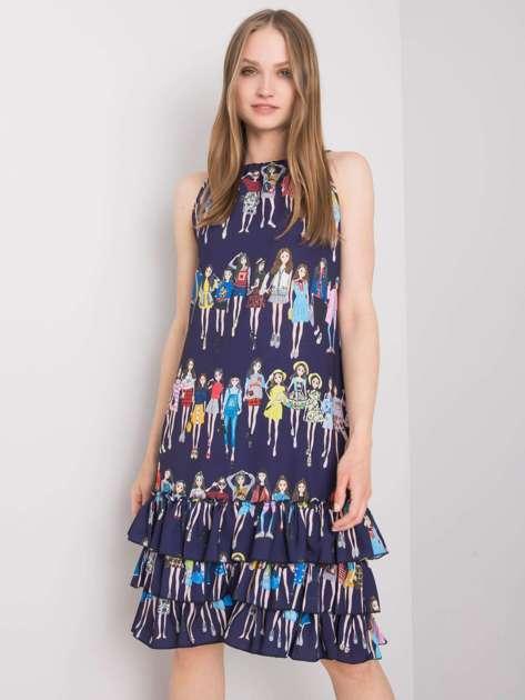 Granatowa sukienka we wzory Mariangela RUE PARIS
