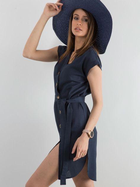 Granatowa sukienka z asymetrycznym zapięciem                              zdj.                              3