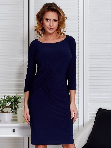 Granatowa sukienka z drapowaniem                                  zdj.                                  1