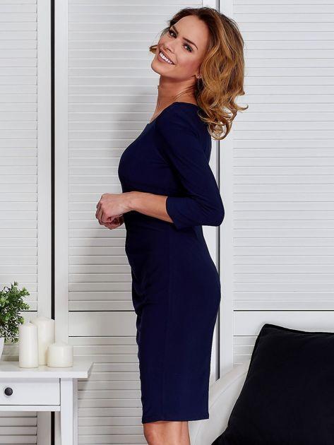 Granatowa sukienka z drapowaniem                                  zdj.                                  5