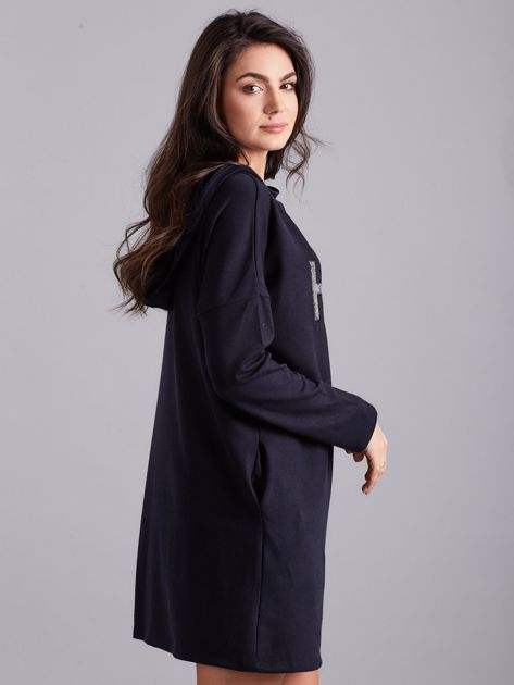 Granatowa sukienka z kapturem                              zdj.                              3