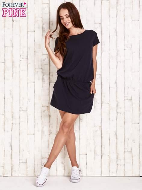 Granatowa sukienka z kieszonkami                                  zdj.                                  2