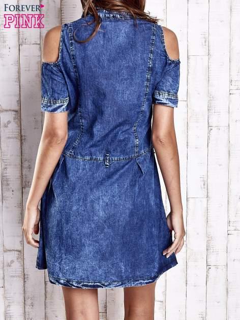 Granatowa sukienka z rękawami cut out                                  zdj.                                  4