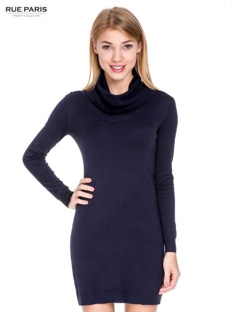 Granatowa swetrowa sukienka z golfem                                  zdj.                                  1