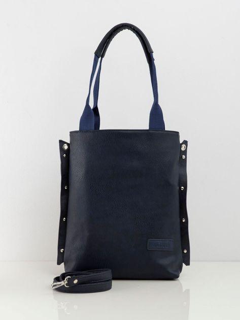 Granatowa torba damska z eko skóry