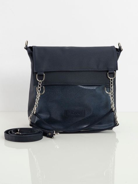 Granatowa torba damska z ekoskóry