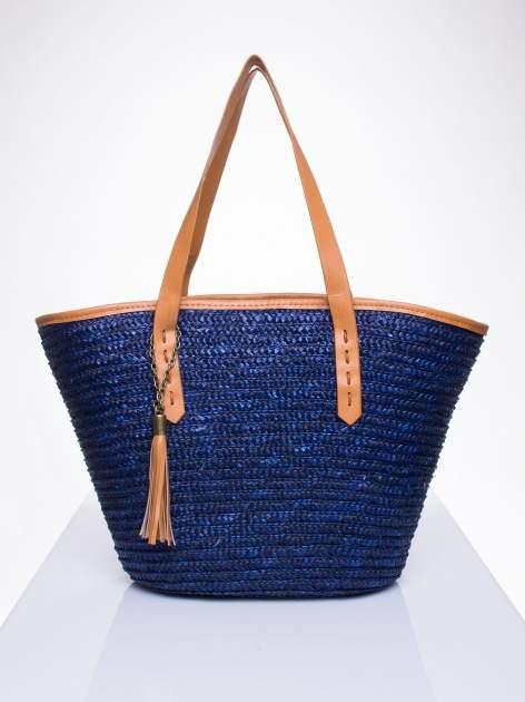 Granatowa torba koszyk plażowy ze skórzanymi rączkami                                  zdj.                                  1