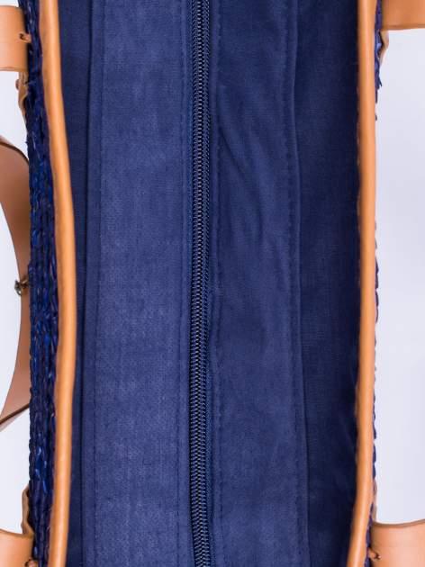 Granatowa torba koszyk plażowy ze skórzanymi rączkami                                  zdj.                                  5