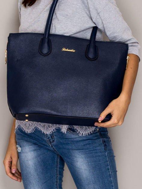 Granatowa torba shopper bag ze złotymi suwakami                                  zdj.                                  1