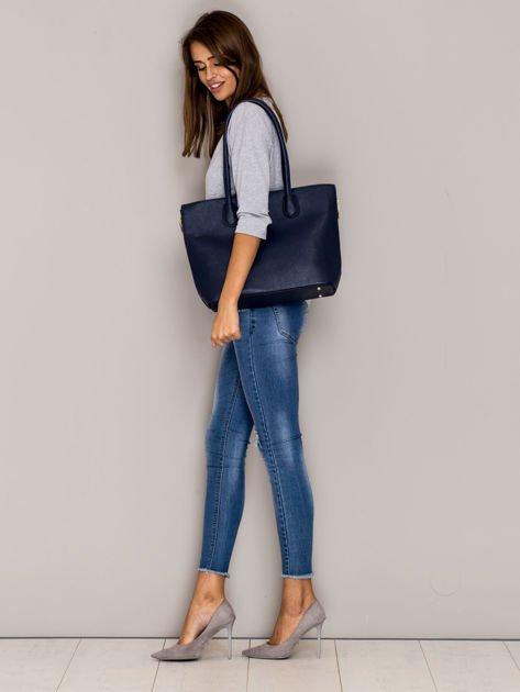 Granatowa torba shopper bag ze złotymi suwakami                                  zdj.                                  3