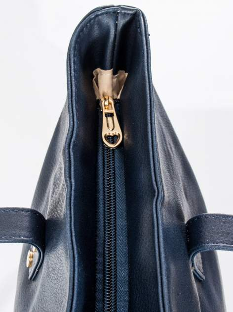 Granatowa torba ze złotym detalem                                  zdj.                                  7