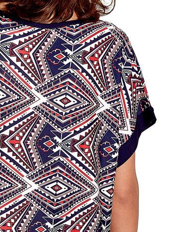 Granatowa tunika w azteckie wzory                                  zdj.                                  5