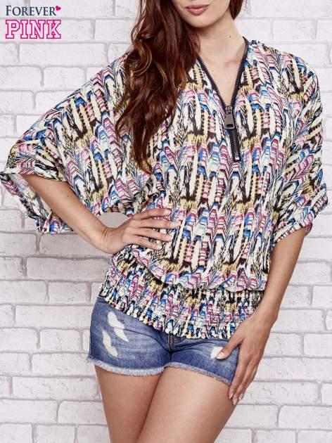 Granatowa wzorzysta koszula nietoperz z suwakiem                                  zdj.                                  2