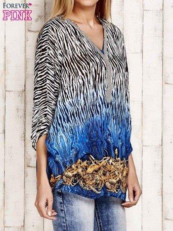 Granatowa wzorzysta koszula oversize z dekoltem z cyrkonii