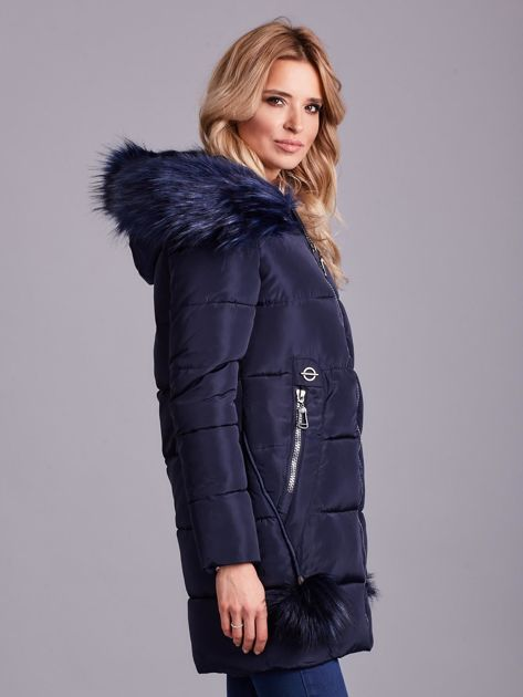 Granatowa zimowa kurtka damska z futerkiem                              zdj.                              4