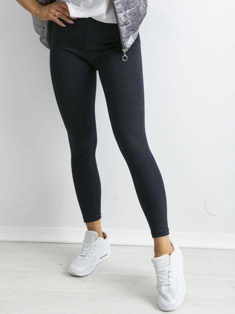 Granatowe bawełniane legginsy z drobinkami                              zdj.                              1