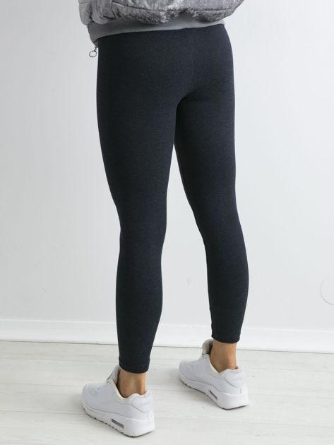Granatowe bawełniane legginsy z drobinkami                              zdj.                              2