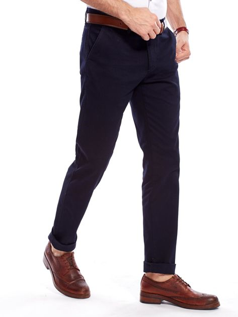 Granatowe bawełniane spodnie męskie                               zdj.                              3