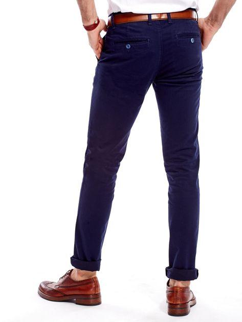 Granatowe bawełniane spodnie męskie chinosy                               zdj.                              2