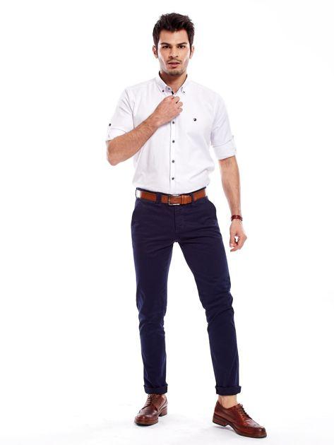 Granatowe bawełniane spodnie męskie chinosy                               zdj.                              10