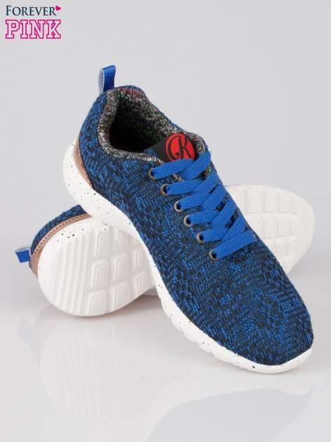 Granatowe buty sportowe dual material Level Up z tweedu                                  zdj.                                  4