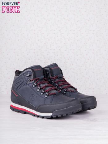 Granatowe buty sportowe eco leather Tour z czerwonymi wstawkami i przeszyciami                                  zdj.                                  2